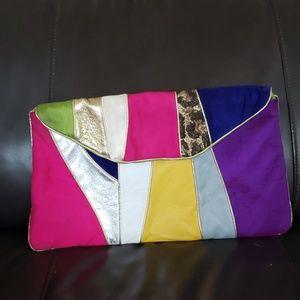 Candice Nicole multicolored leather fabric clutch